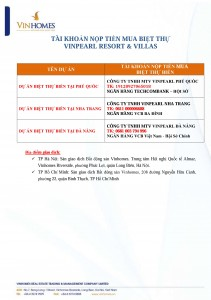 Tài khoản nộp tiền Vinpearl Resort Villas T10/2015