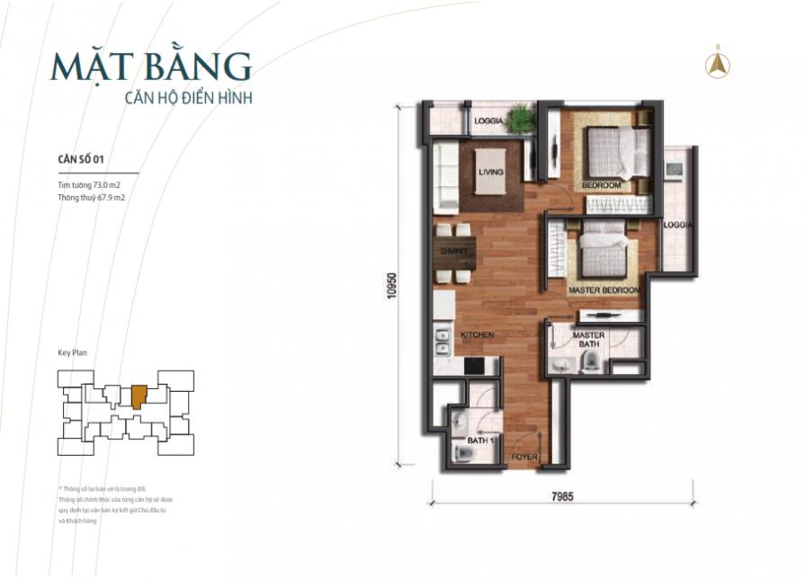 Căn hộ Park3 chung cư Vinhomes Times City Park Hill – Diện tích 73 m2