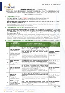 Chính sách bán hàng Times City Park Hill 17/10/2015